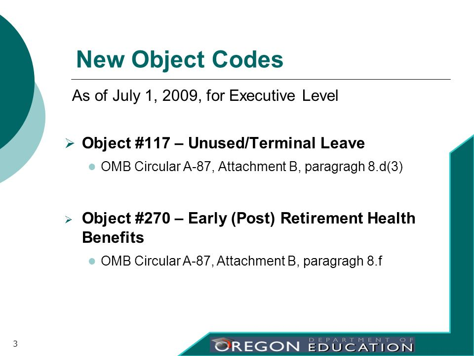 New Object Codes Object #117 – Unused/Terminal Leave OMB Circular A-87, Attachment B, paragragh 8.d(3) Object #270 – Early (Post) Retirement Health Be