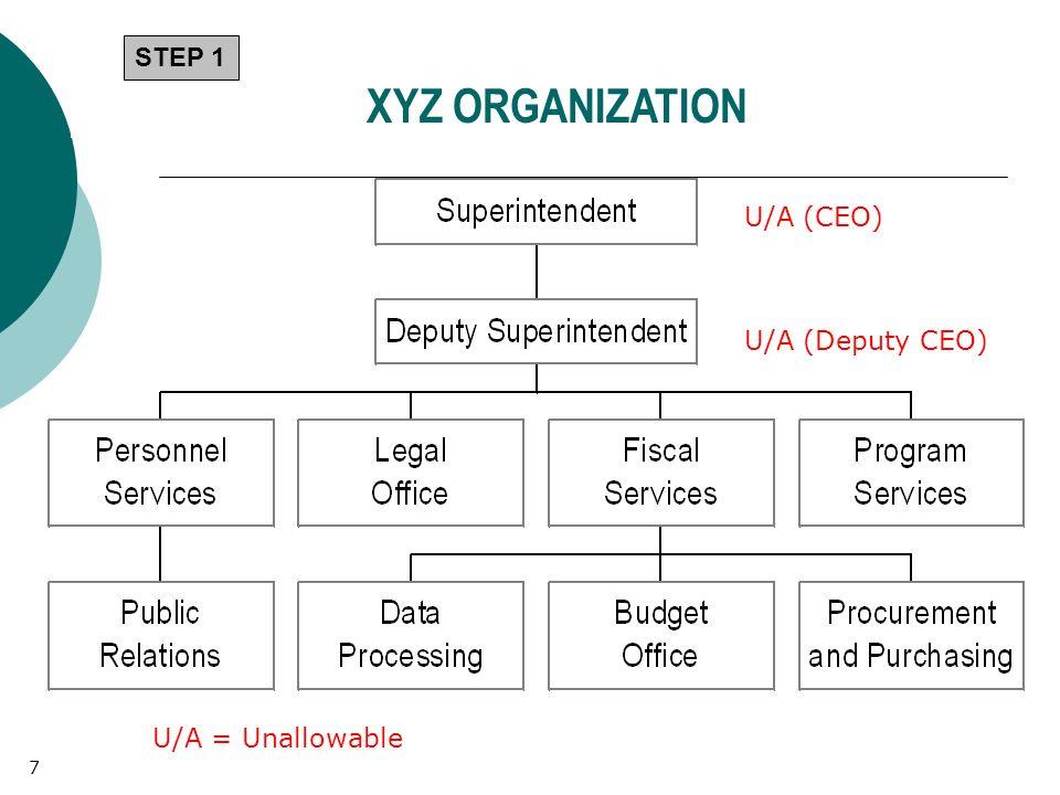U/A (CEO) U/A (Deputy CEO) U/A = Unallowable XYZ ORGANIZATION STEP 1 7