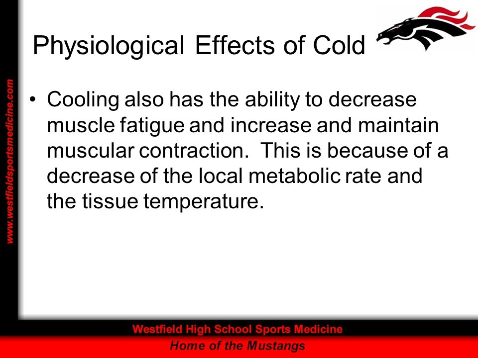 Physiological Effects of Cold Cooling also has the ability to decrease muscle fatigue and increase and maintain muscular contraction. This is because