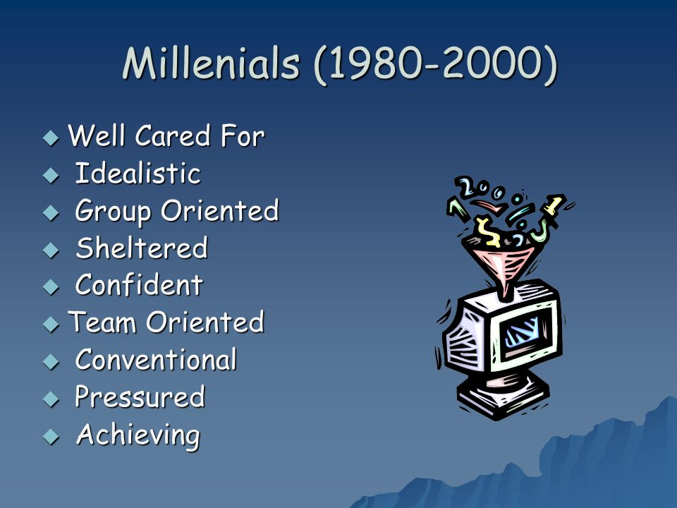 Millenials (1980-2000) Well Cared For Well Cared For Idealistic Idealistic Group Oriented Group Oriented Sheltered Sheltered Confident Confident Team Oriented Team Oriented Conventional Conventional Pressured Pressured Achieving Achieving
