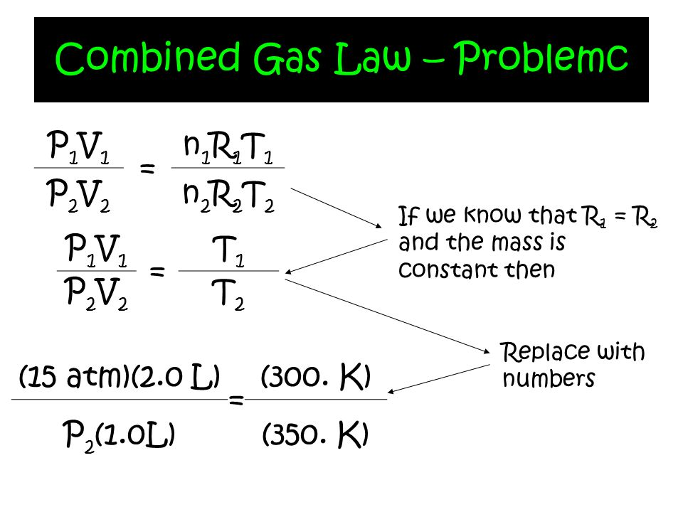 Combined Gas Law – Problemc P1V1P1V1 = n1R1T1n1R1T1 P2V2P2V2 n2R2T2n2R2T2 P1V1P1V1 = T1T1 P2V2P2V2 T2T2 If we know that R 1 = R 2 and the mass is cons