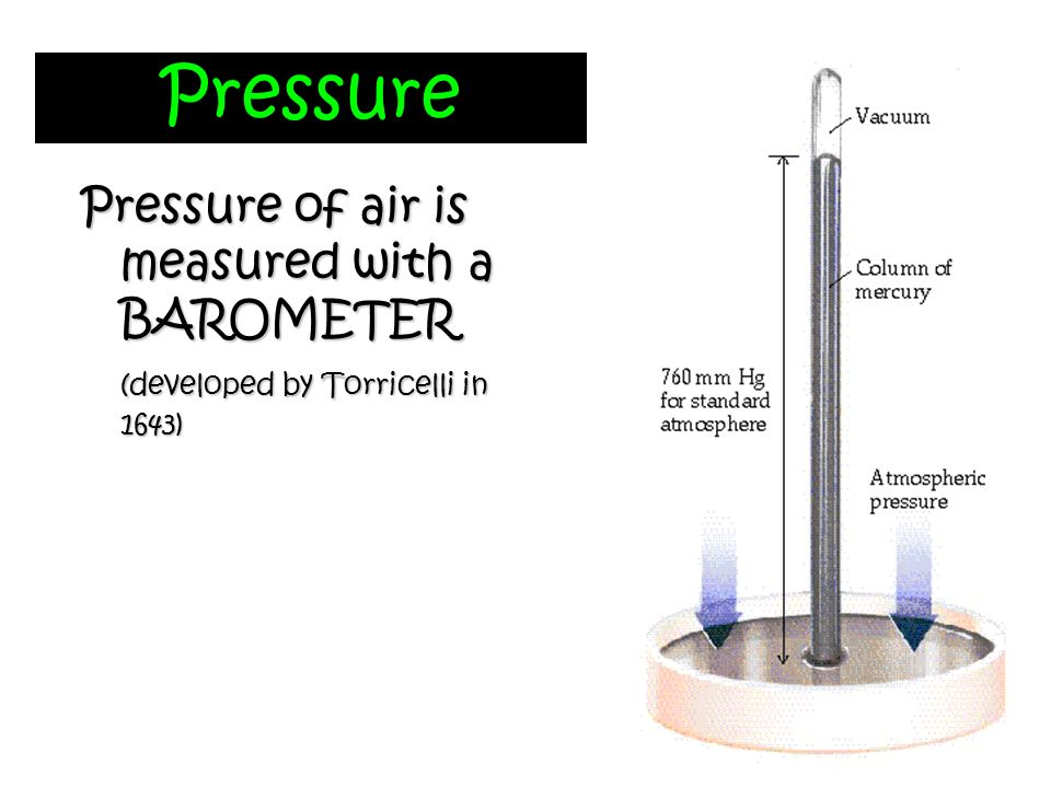 Pressure Pressure of air is measured with a BAROMETER (developed by Torricelli in 1643)