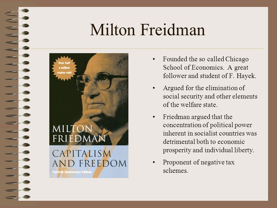 Milton Freidman Founded the so called Chicago School of Economics.