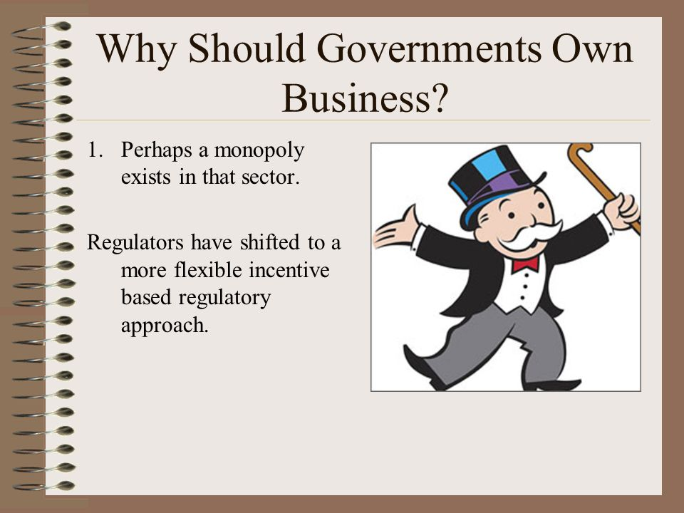 Why Should Governments Own Business. 1.Perhaps a monopoly exists in that sector.
