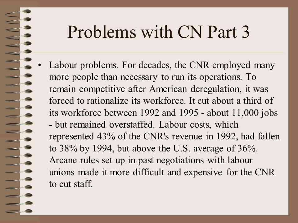 Problems with CN Part 3 Labour problems.