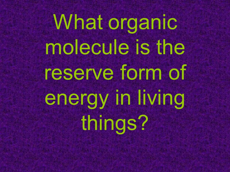 What organic molecule is the reserve form of energy in living things?