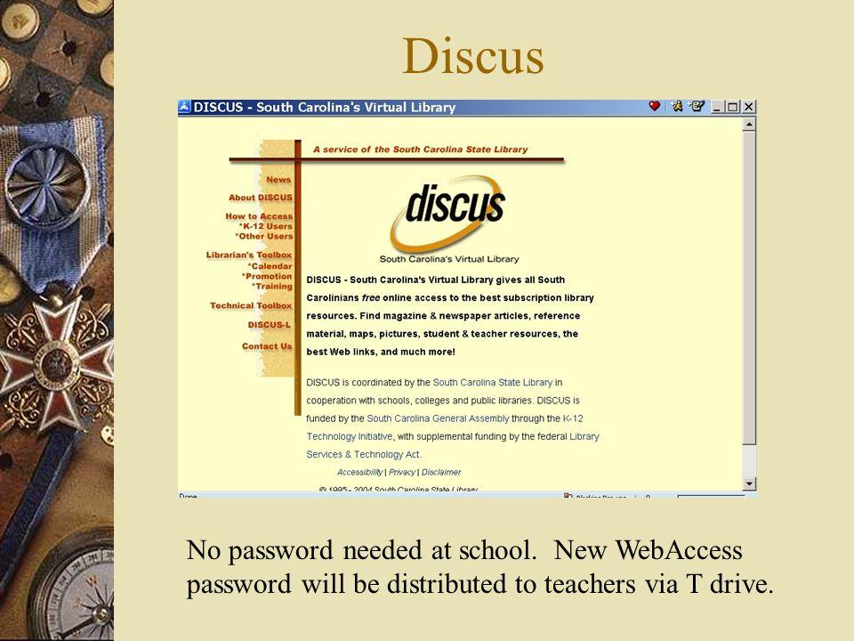 Discus No password needed at school.