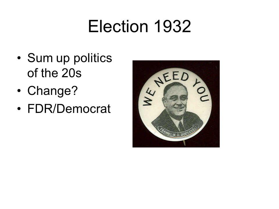 Election 1932 Sum up politics of the 20s Change? FDR/Democrat