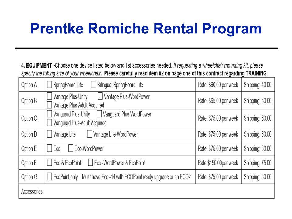 Prentke Romiche Rental Program