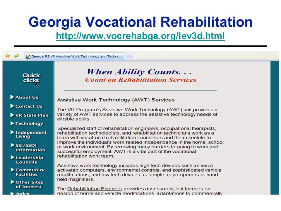 Georgia Vocational Rehabilitation http://www.vocrehabga.org/lev3d.html http://www.vocrehabga.org/lev3d.html