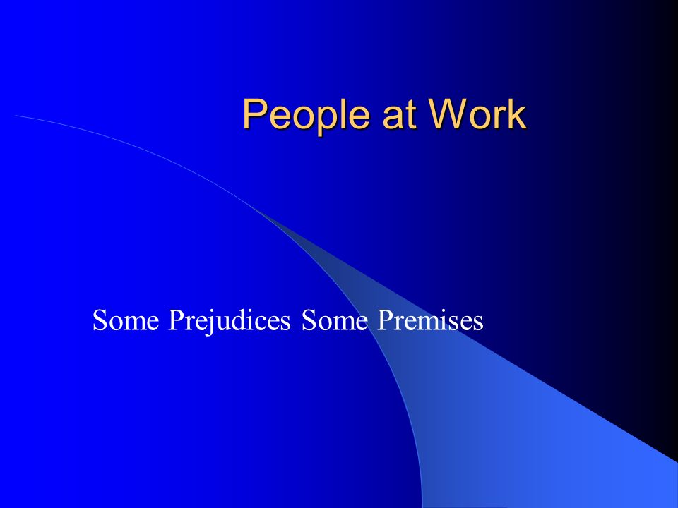 People at Work Some Prejudices Some Premises