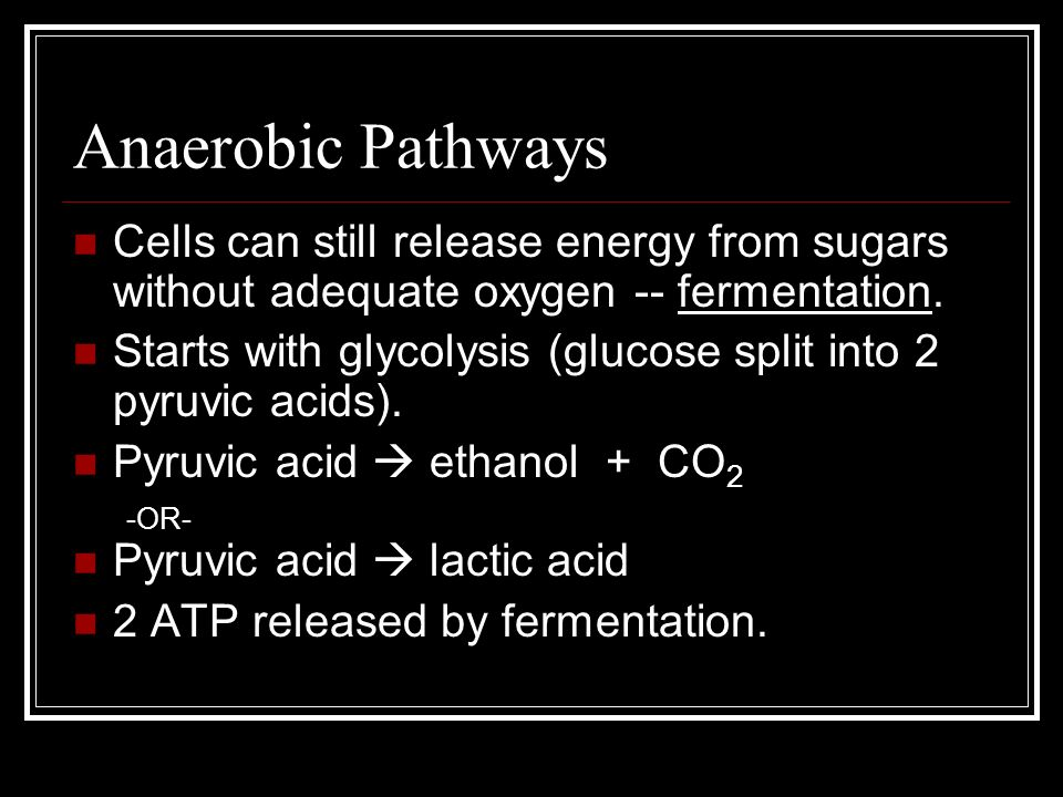 Anaerobic Pathways Cells can still release energy from sugars without adequate oxygen -- fermentation. Starts with glycolysis (glucose split into 2 py