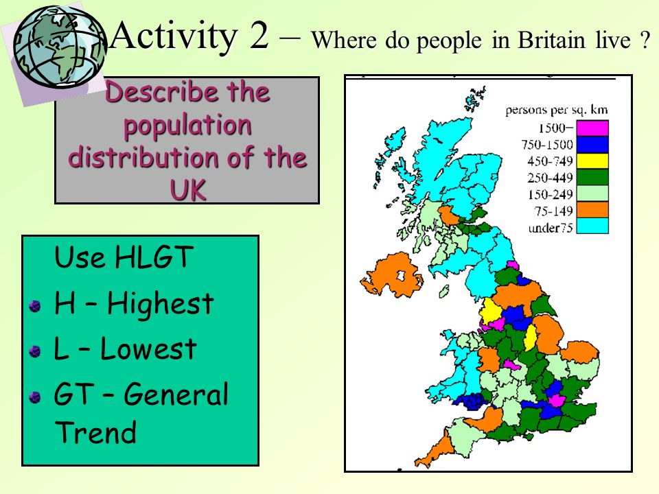 11 Describe the population distribution of the UK Use HLGT H – Highest L – Lowest GT – General Trend Activity 2 – Where do people in Britain live ?