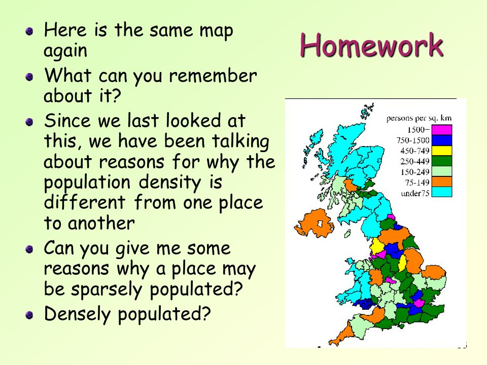 18 Homework Here is the same map again What can you remember about it? Since we last looked at this, we have been talking about reasons for why the po