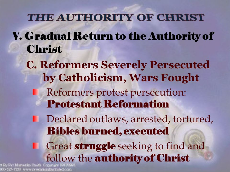 V. Gradual Return to the Authority of Christ C.
