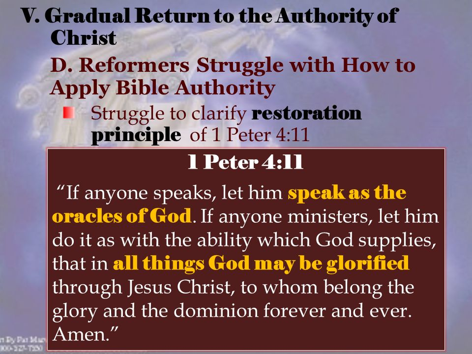 V. Gradual Return to the Authority of Christ D.