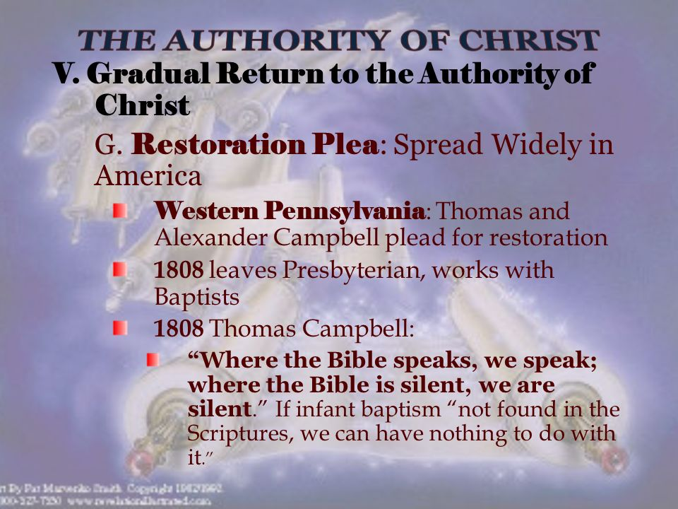 V. Gradual Return to the Authority of Christ G.