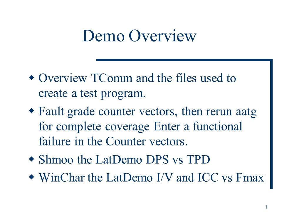 1 Demo Overview Overview TComm and the files used to create a test program.