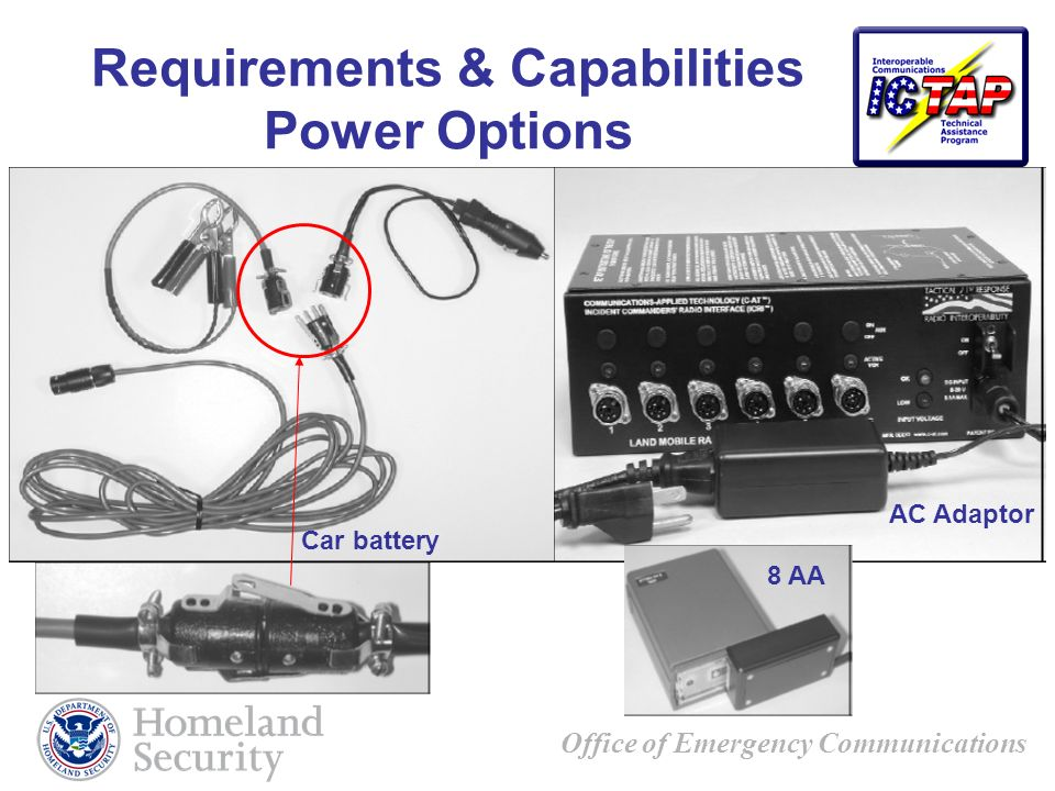 Office of Emergency Communications Requirements & Capabilities Power Options AC Adaptor 8 AA Car battery