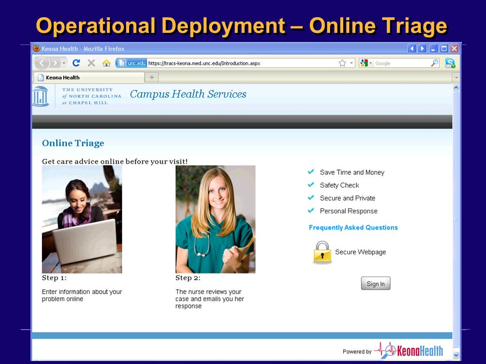 ©2011, Kensaku Kawamoto Operational Deployment – Online Triage