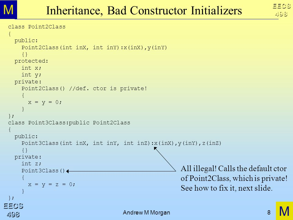 M M EECS498 EECS498 Andrew M Morgan8 Inheritance, Bad Constructor Initializers class Point2Class { public: Point2Class(int inX, int inY):x(inX),y(inY) {} protected: int x; int y; private: Point2Class() //def.