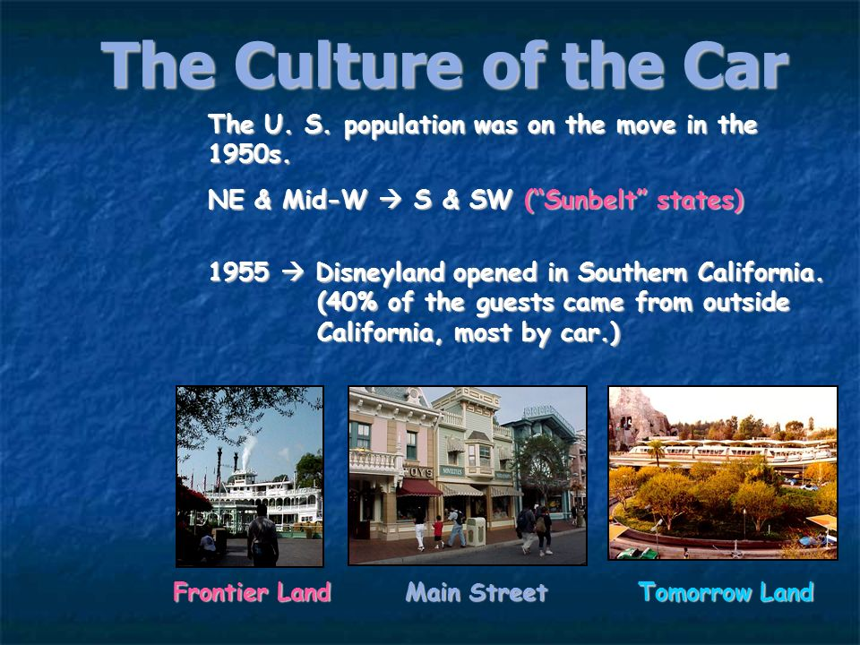 The Culture of the Car First McDonalds (1955) America became a more homogeneous nation because of the automobile.America became a more homogeneous nat