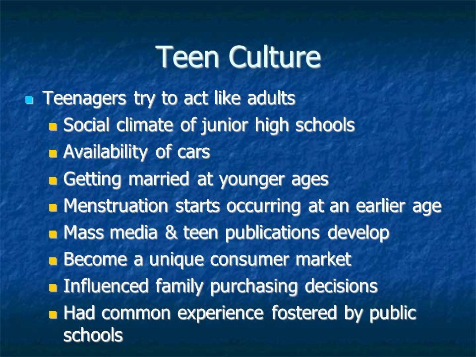 Teen Culture In the 1950s the word teenager entered the American language. By 1956 13 million teens with $7 billion to spend a year. 1951 race music R