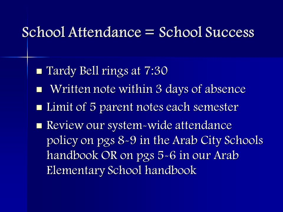 School Attendance = School Success Tardy Bell rings at 7:30 Tardy Bell rings at 7:30 Written note within 3 days of absence Written note within 3 days