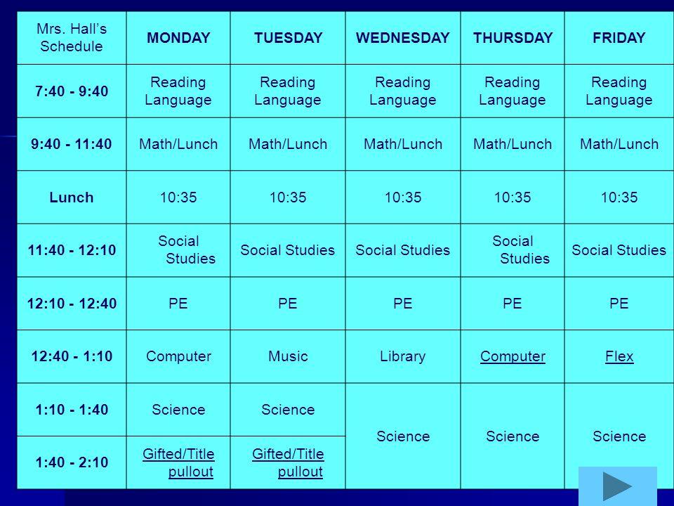 Mrs. Halls Schedule MONDAYTUESDAYWEDNESDAYTHURSDAYFRIDAY 7:40 - 9:40 Reading Language Reading Language Reading Language Reading Language Reading Langu