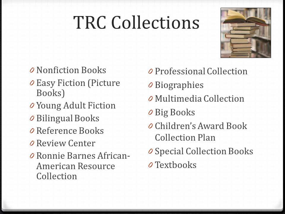 TRC Collections 0 Nonfiction Books 0 Easy Fiction (Picture Books) 0 Young Adult Fiction 0 Bilingual Books 0 Reference Books 0 Review Center 0 Ronnie B