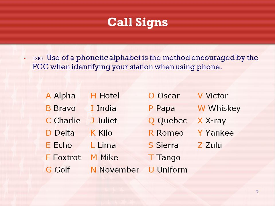 7 Call Signs T2B9 Use of a phonetic alphabet is the method encouraged by the FCC when identifying your station when using phone.