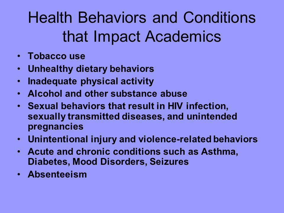 Health Behaviors and Conditions that Impact Academics Tobacco use Unhealthy dietary behaviors Inadequate physical activity Alcohol and other substance