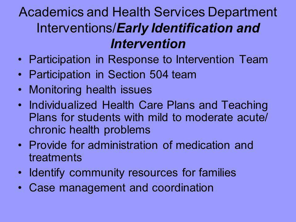 Academics and Health Services Department Interventions/Early Identification and Intervention Participation in Response to Intervention Team Participat