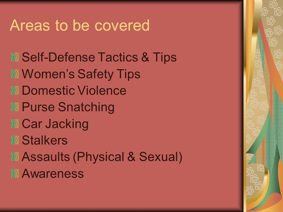 Areas to be covered Self-Defense Tactics & Tips Womens Safety Tips Domestic Violence Purse Snatching Car Jacking Stalkers Assaults (Physical & Sexual) Awareness