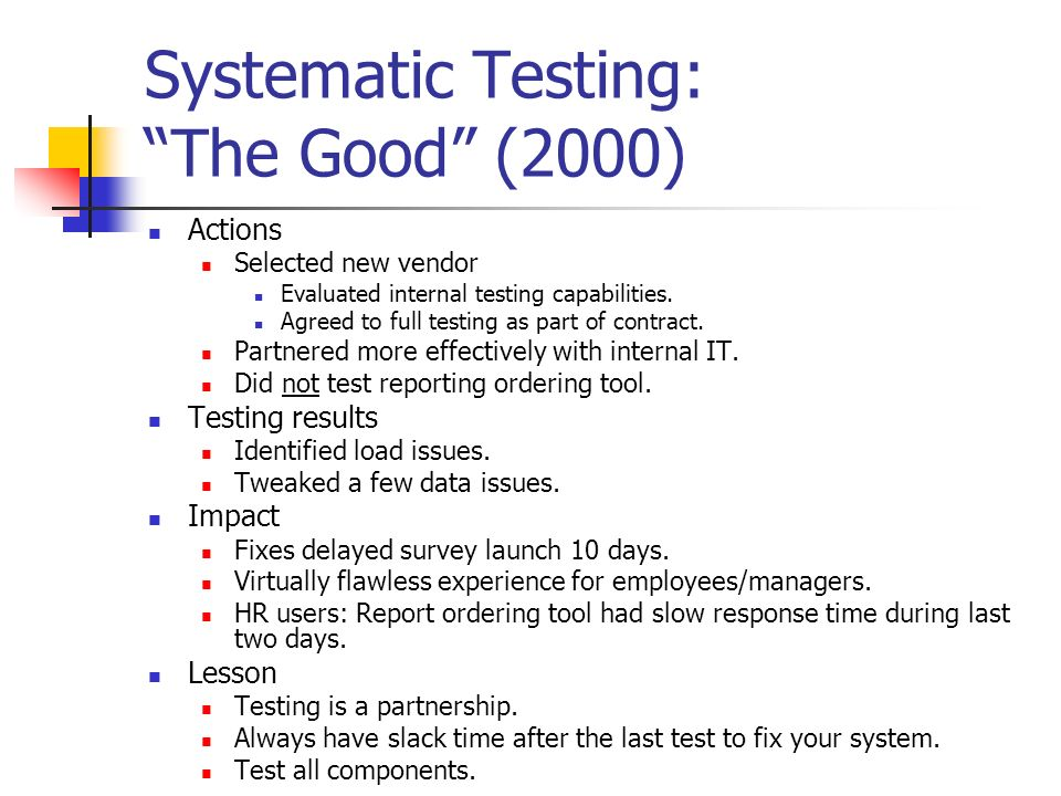 Systematic Testing: The Good (2000) Actions Selected new vendor Evaluated internal testing capabilities.