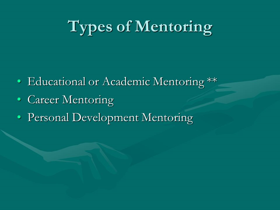 Types of Mentoring Educational or Academic Mentoring **Educational or Academic Mentoring ** Career MentoringCareer Mentoring Personal Development Ment