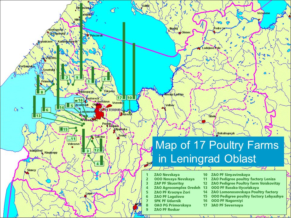 Northern Dimension Dimension Environmental Environmental Partnership Partnership Locations 2 Map of 17 Poultry Farms in Leningrad Oblast