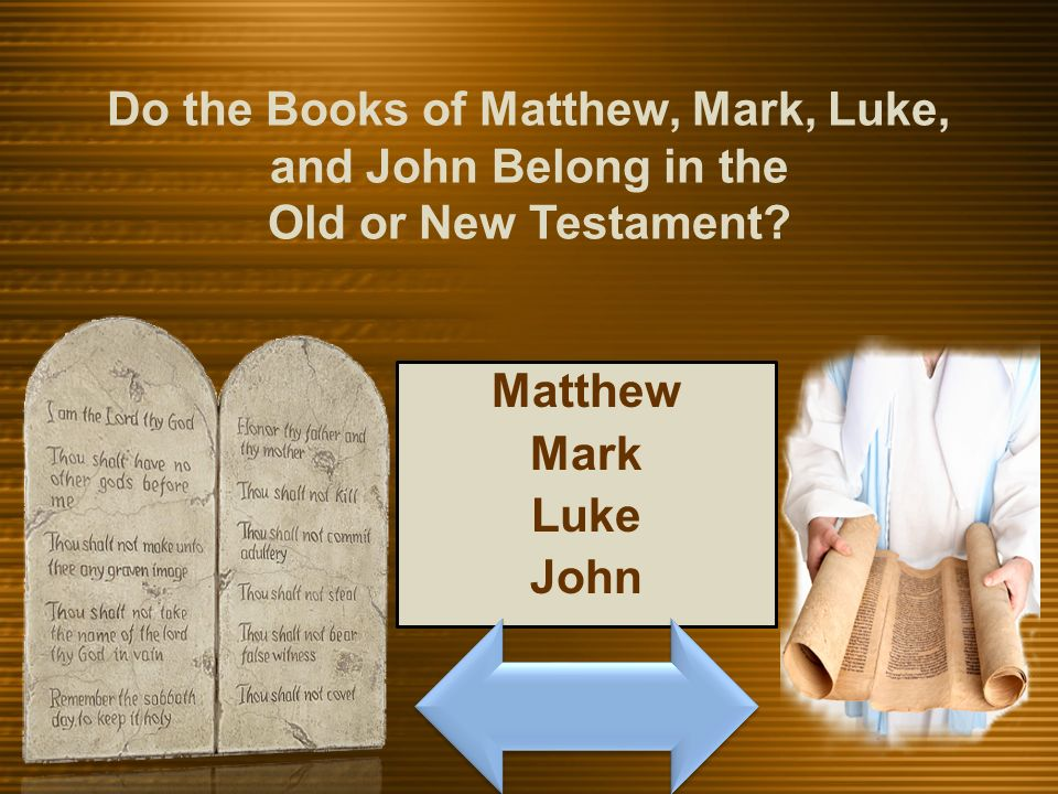 Matthew Mark Luke John Do the Books of Matthew, Mark, Luke, and John Belong in the Old or New Testament?