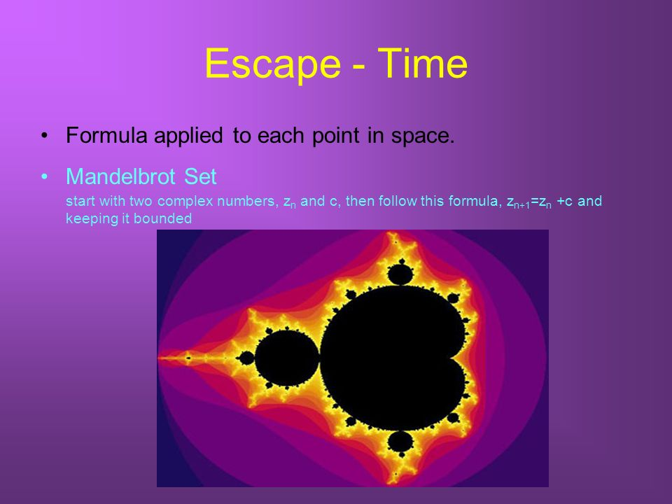 Escape - Time Formula applied to each point in space.
