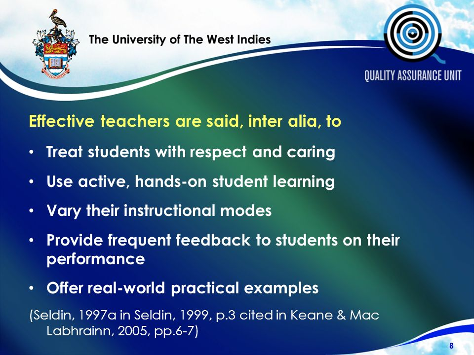 Effective teachers are said, inter alia, to Treat students with respect and caring Use active, hands-on student learning Vary their instructional modes Provide frequent feedback to students on their performance Offer real-world practical examples (Seldin, 1997a in Seldin, 1999, p.3 cited in Keane & Mac Labhrainn, 2005, pp.6-7) 8