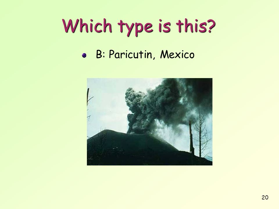 20 Which type is this? B: Paricutin, Mexico
