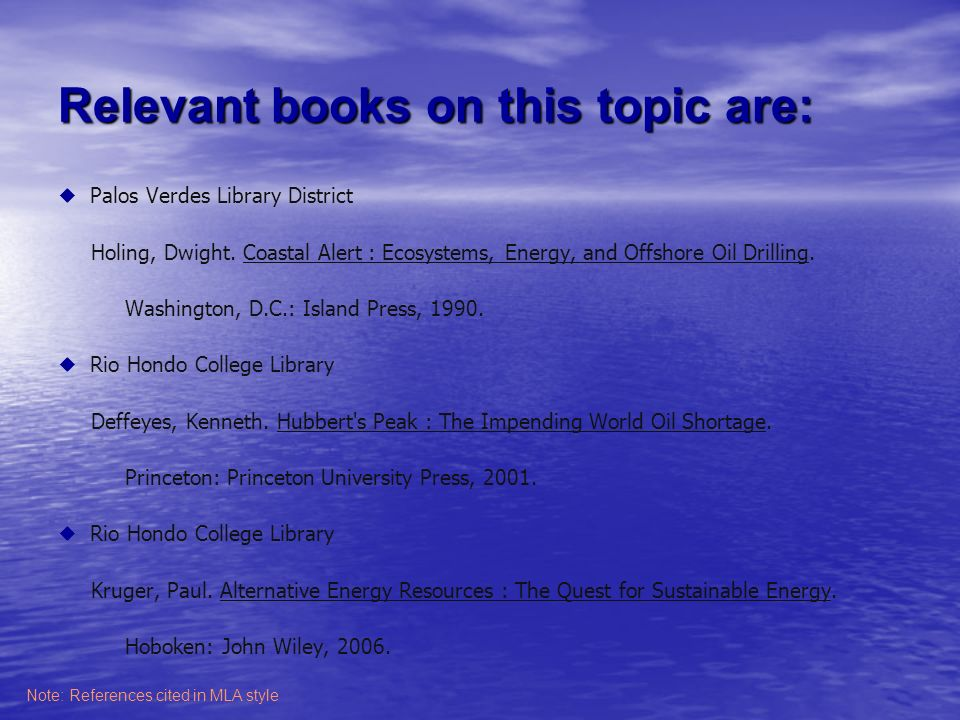 Relevant books on this topic are: Palos Verdes Library District Holing, Dwight.