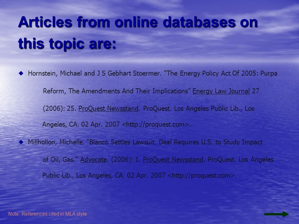 Articles from online databases on this topic are: Hornstein, Michael and J S Gebhart Stoermer.