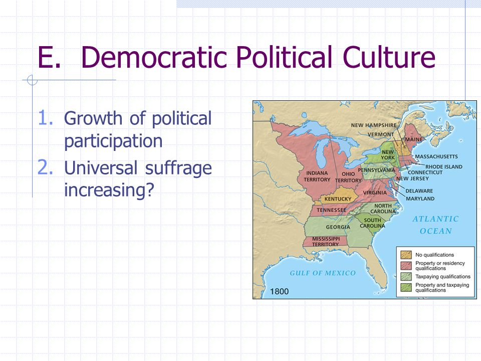 E. Democratic Political Culture 1. Growth of political participation 2. Universal suffrage increasing?