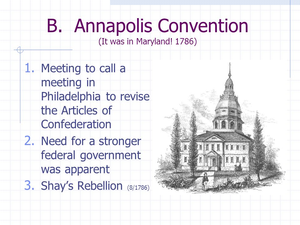 B. Annapolis Convention (It was in Maryland! 1786) 1. Meeting to call a meeting in Philadelphia to revise the Articles of Confederation 2. Need for a