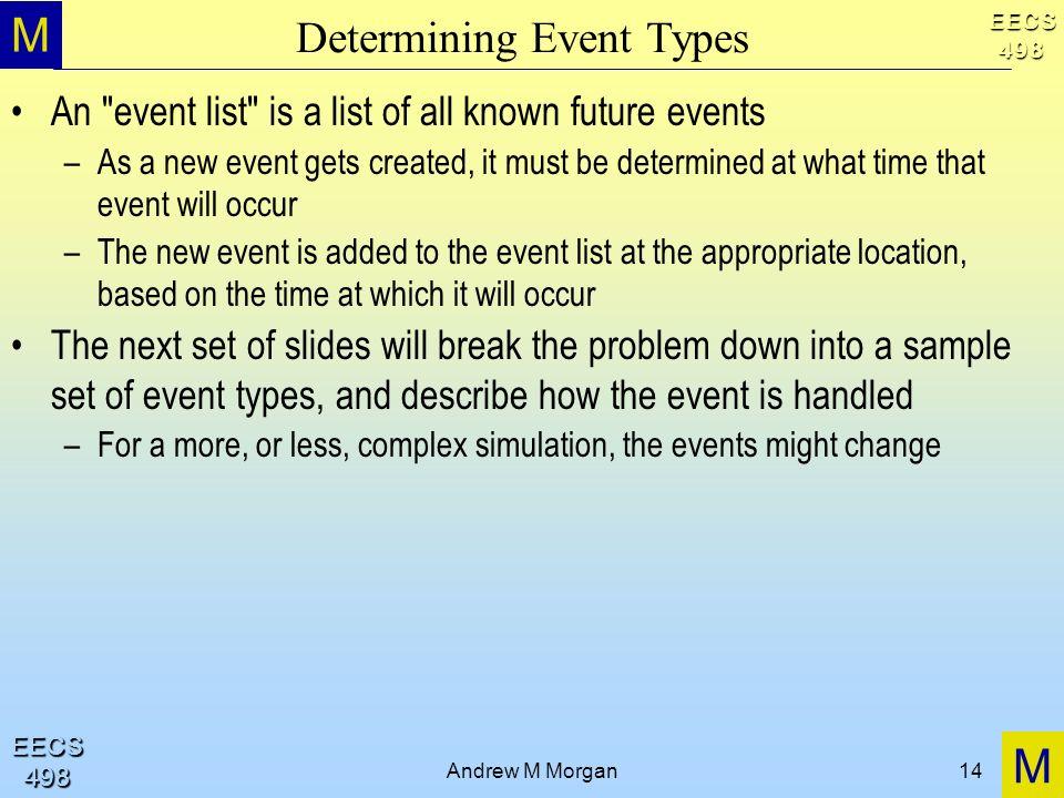 M M EECS498 EECS498 Andrew M Morgan14 Determining Event Types An