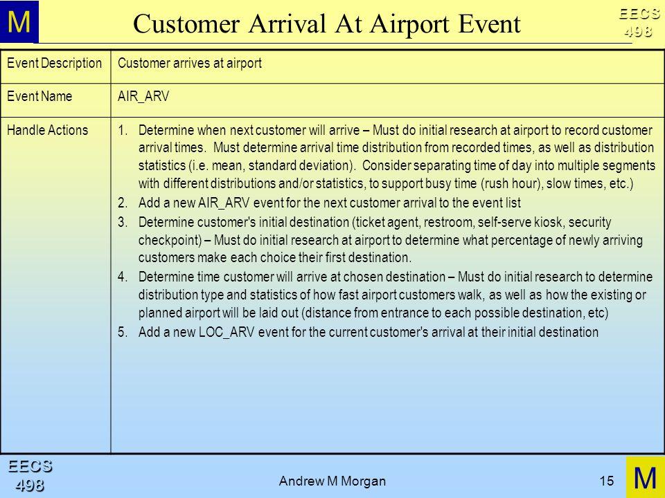 M M EECS498 EECS498 Andrew M Morgan15 Customer Arrival At Airport Event Event DescriptionCustomer arrives at airport Event NameAIR_ARV Handle Actions1