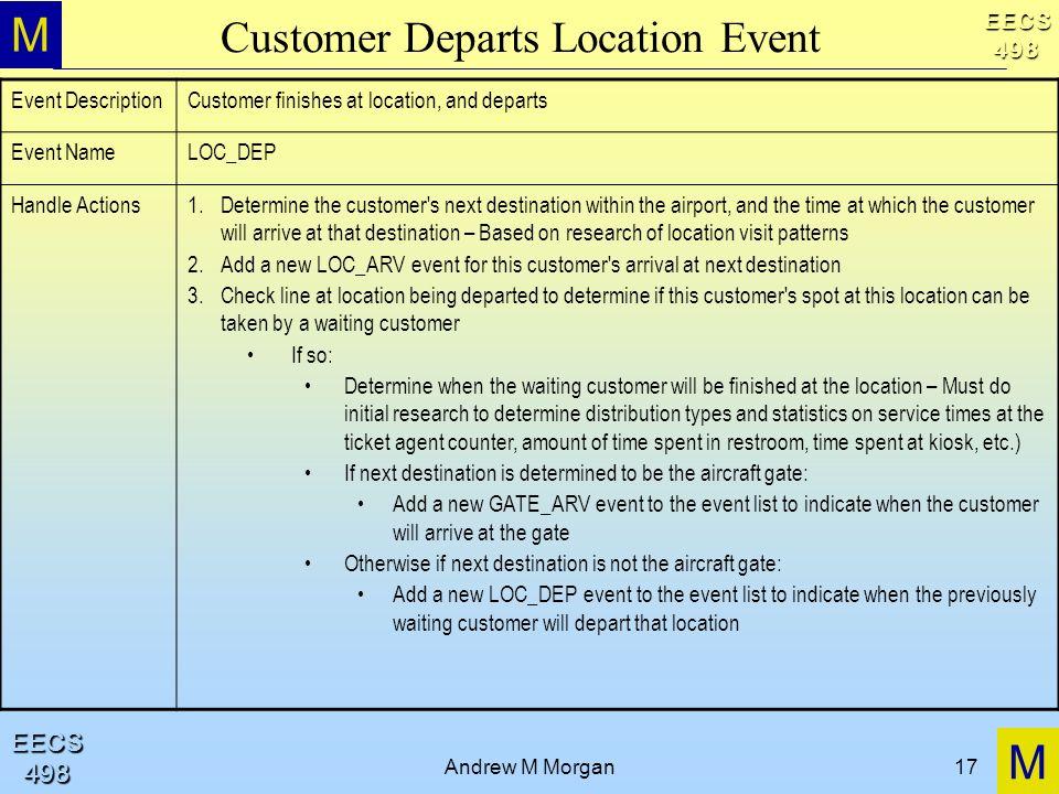 M M EECS498 EECS498 Andrew M Morgan17 Customer Departs Location Event Event DescriptionCustomer finishes at location, and departs Event NameLOC_DEP Ha