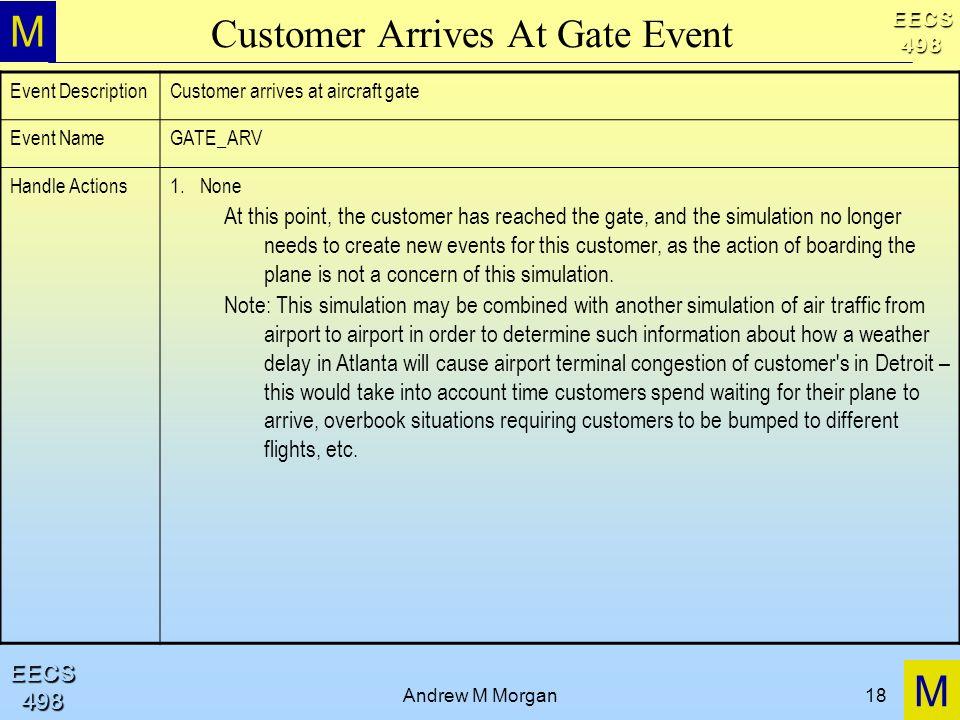 M M EECS498 EECS498 Andrew M Morgan18 Customer Arrives At Gate Event Event DescriptionCustomer arrives at aircraft gate Event NameGATE_ARV Handle Acti