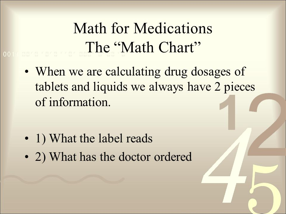 Math for Medications The Math Chart When we are calculating drug dosages of tablets and liquids we always have 2 pieces of information.